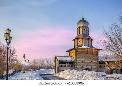 old wooden building of museum in Tomsk Siberia