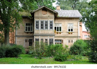 Old wooden building in park