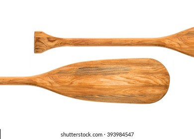 old wooden canoe paddle abstract, isolated on white