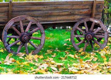 Old wooden carriage in autumn park