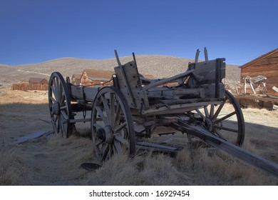 Old wooden carriage in ghost town