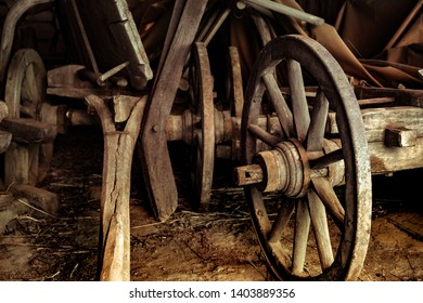 old wooden carriage wheel in Astra Museum of Traditional Folk Civilization, Sibiu city, Romania