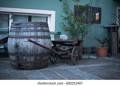 Old wooden cart and barrel