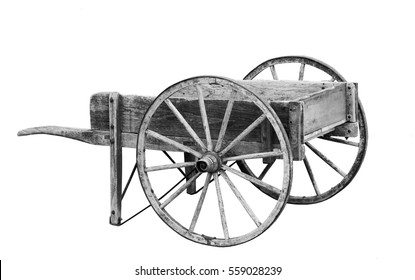 Old wooden cart in black and white
