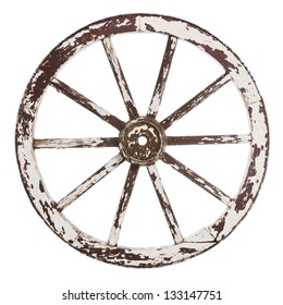 Old wooden cart wheel with white paint over a white background