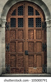 Old Wooden Cathedral Door