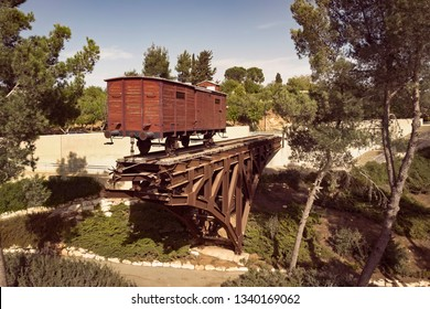 An old wooden cattle rail car that was used to transport Jews to concentration camps during the Holocaust. Yad Vashem