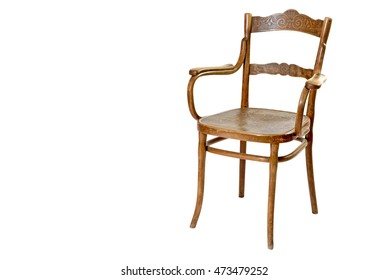 Old wooden chair with armrests isolated on the white background.