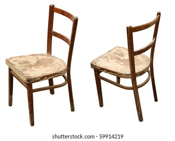 old wooden chair in different views isolated on a white