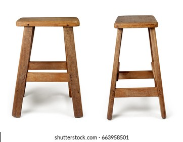 Old Wooden Chair Isolated On White Background With Clipping Path.