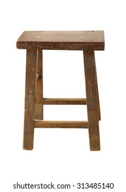 Old wooden chair on white background (with clipping path)
