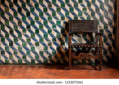 old wooden chair in a retro room .