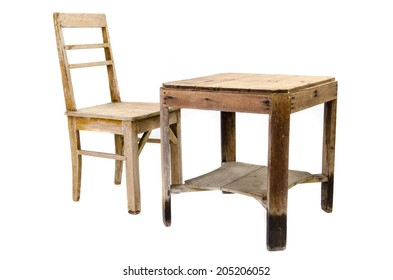Old Wooden Chair And Table Isolated On White Background