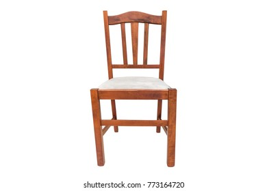 Old wooden chair with white seat on a white background. Isolated