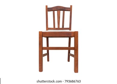 old wooden chair.  Chair Old Wooden Chair With White Soft Seat On A Background Isolated To Wooden Chair