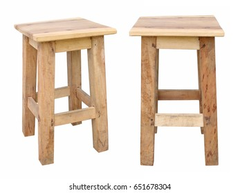 Old wooden chairs isolated on white background.