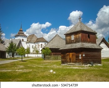 Old wooden chapel and church in Pribylina village near Liptovsky Mikulas in Slovakia.
