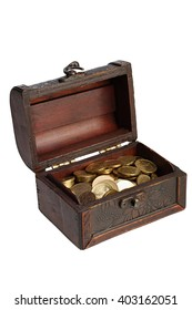 Old wooden chest with coins of the yellow metal on white background with Clipping Path