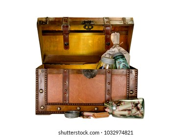 Old Wooden Chest with Money
