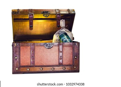Old Wooden Chest With Money Bag