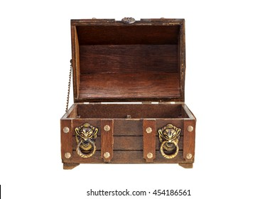 old wooden chest open in front view on white background