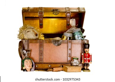 Old Wooden Chest With Toys and Money