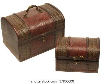 Old wooden chest for treasures isolated on white