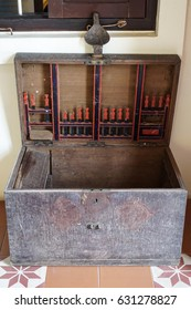 old wooden chest untill hinge as stainless steel