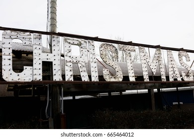 Old Wooden Christmas Sign With Lights
