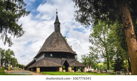 Old wooden church, All Saint Church. UNESCO heritage in Tvrdosin, Slovakia