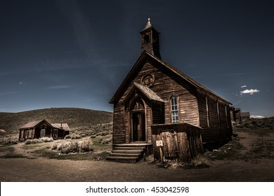 Old Wooden Church Bodie Ghost Town California Outside