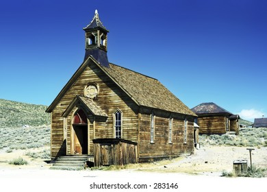 Old wooden church in Bodie, a historic ghost town in California.