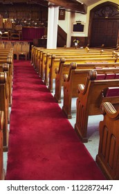 Old wooden church pews