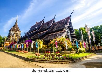 Old wooden church of Wat Lok Molee Chiangmai Thailand