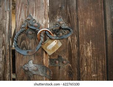 Old wooden closed door.