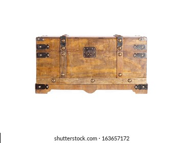 Old wooden coffer, isolated. Copy space