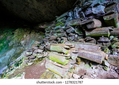 Old wooden coffins in the Sumaging cave, Sagada, Luzon, Philippines
