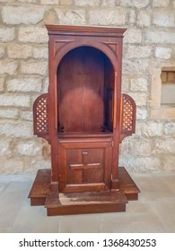 Old wooden confessional in the monastery of Iranzu, Navarre, Spain
