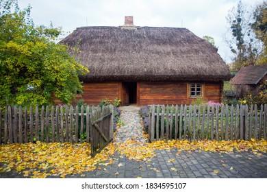 Old wooden cottage house in skansen in Torun, Poland