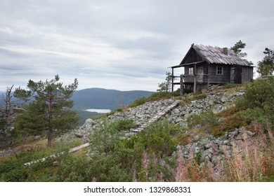 Old wooden cottage on the top of Levitunturi fell on autumn. This cabin is near of ski slopes and it is very popular place for tourist to take photos