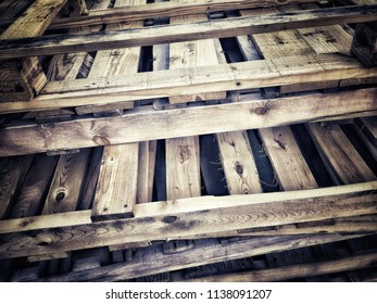 Old wooden crate skid