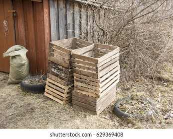 Old wooden crates for seedlings in the yard