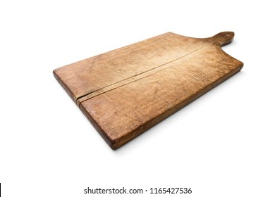 Old wooden cutting kitchen board on white background, included clipping path