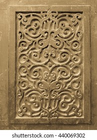 Old wooden decoration element on an Islamic mosque in old cairo