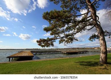 Old wooden dock at Lake Palic,Subotica,Serbia