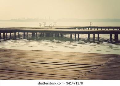 Old wooden dock. Vintage photo