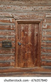 old wooden door in ancient house background