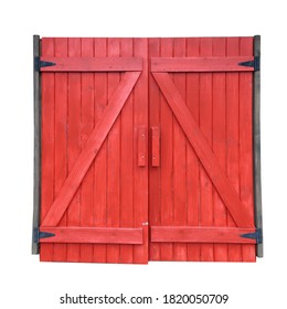 Old wooden door from a barn isolated on white background