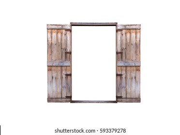 Old wooden door, both doors are open, isolated on white background with clipping path.