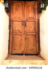 Old wooden door brown retro background and Designs Thailand.